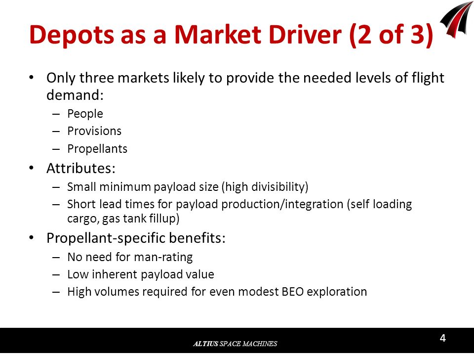 ALTIUS SPACE MACHINES 4 Depots as a Market Driver (2 of 3) Only three markets likely to provide the needed levels of flight demand: – People – Provisi