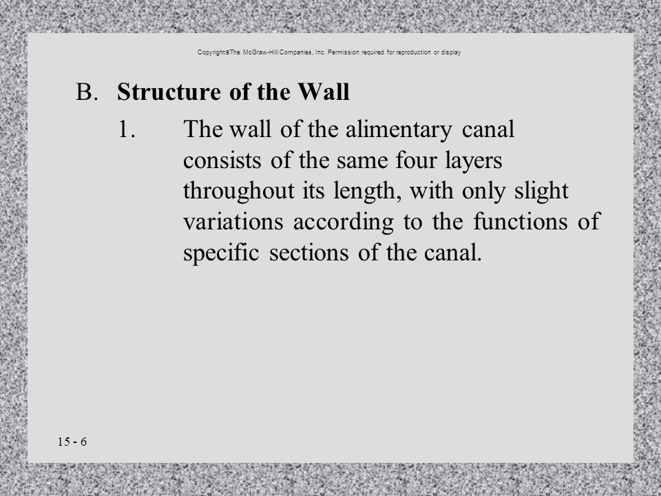 15 - 6 B.Structure of the Wall 1.The wall of the alimentary canal consists of the same four layers throughout its length, with only slight variations