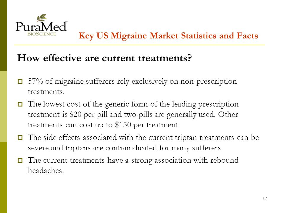 17 Key US Migraine Market Statistics and Facts How effective are current treatments.