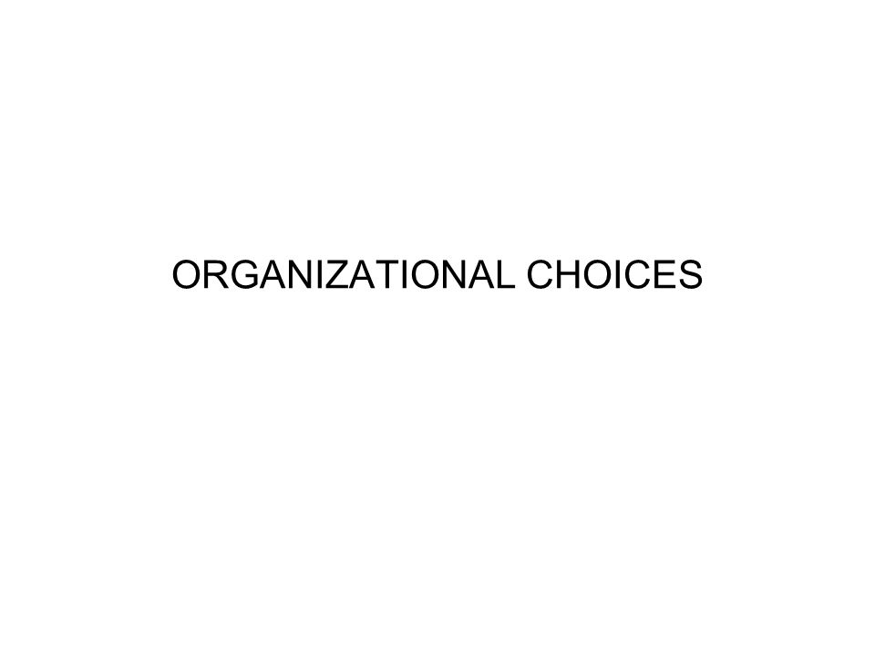 ORGANIZATIONAL CHOICES