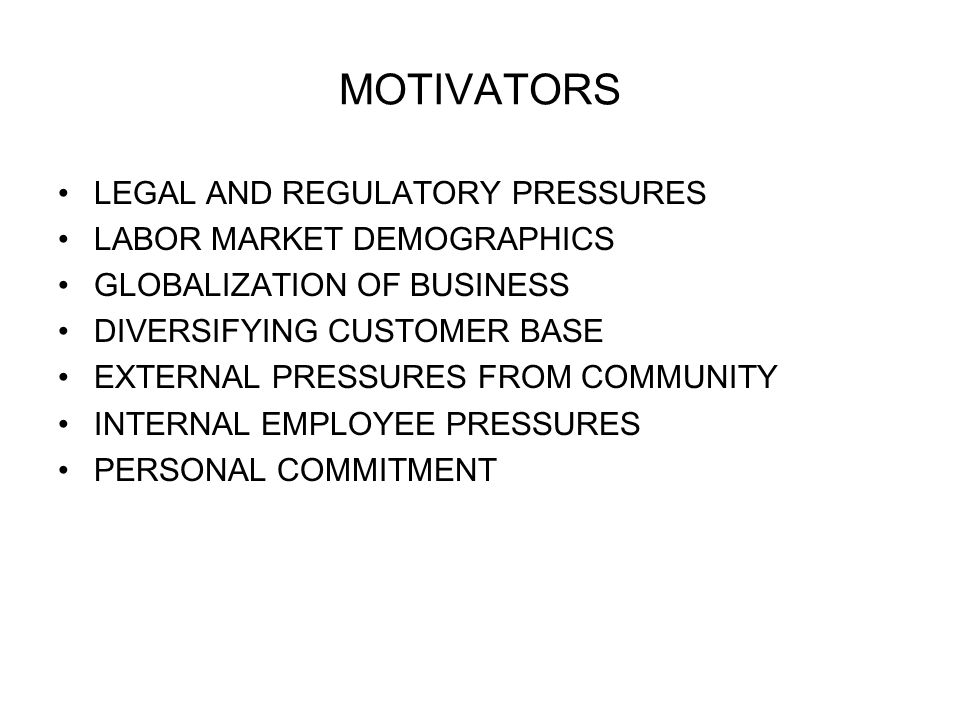 MOTIVATORS LEGAL AND REGULATORY PRESSURES LABOR MARKET DEMOGRAPHICS GLOBALIZATION OF BUSINESS DIVERSIFYING CUSTOMER BASE EXTERNAL PRESSURES FROM COMMUNITY INTERNAL EMPLOYEE PRESSURES PERSONAL COMMITMENT