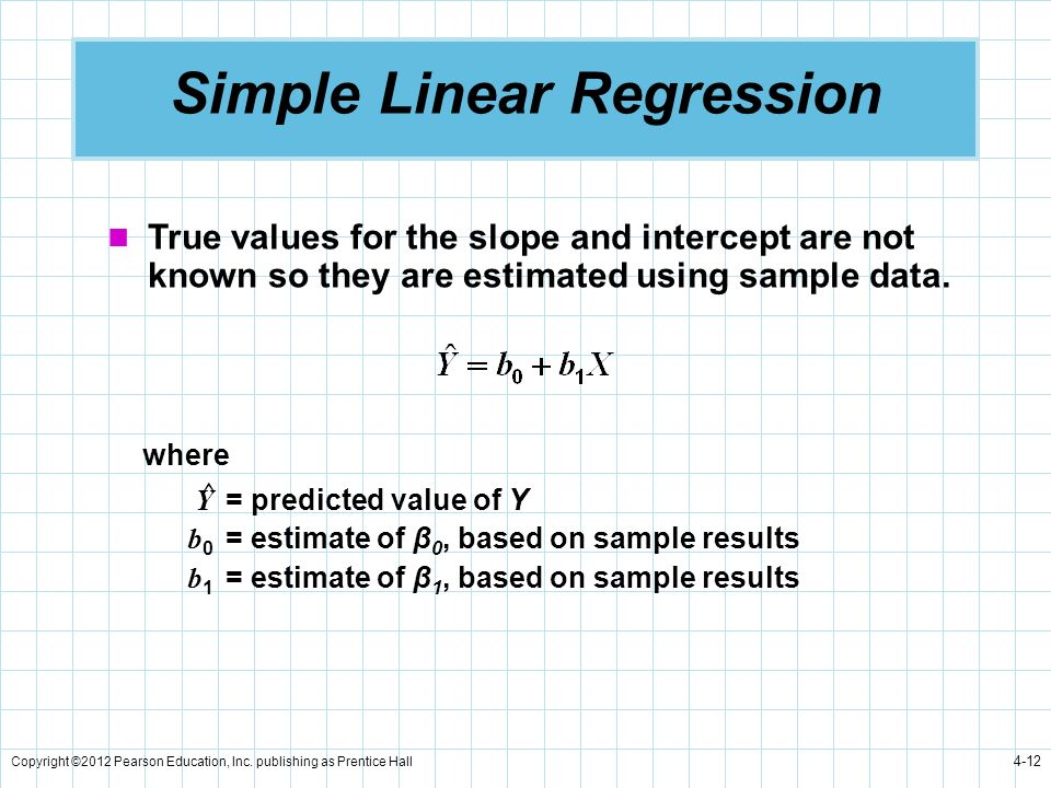 Copyright ©2012 Pearson Education, Inc. publishing as Prentice Hall 4-12 Simple Linear Regression True values for the slope and intercept are not know