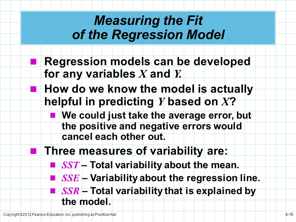 Copyright ©2012 Pearson Education, Inc. publishing as Prentice Hall 4-18 Measuring the Fit of the Regression Model Regression models can be developed