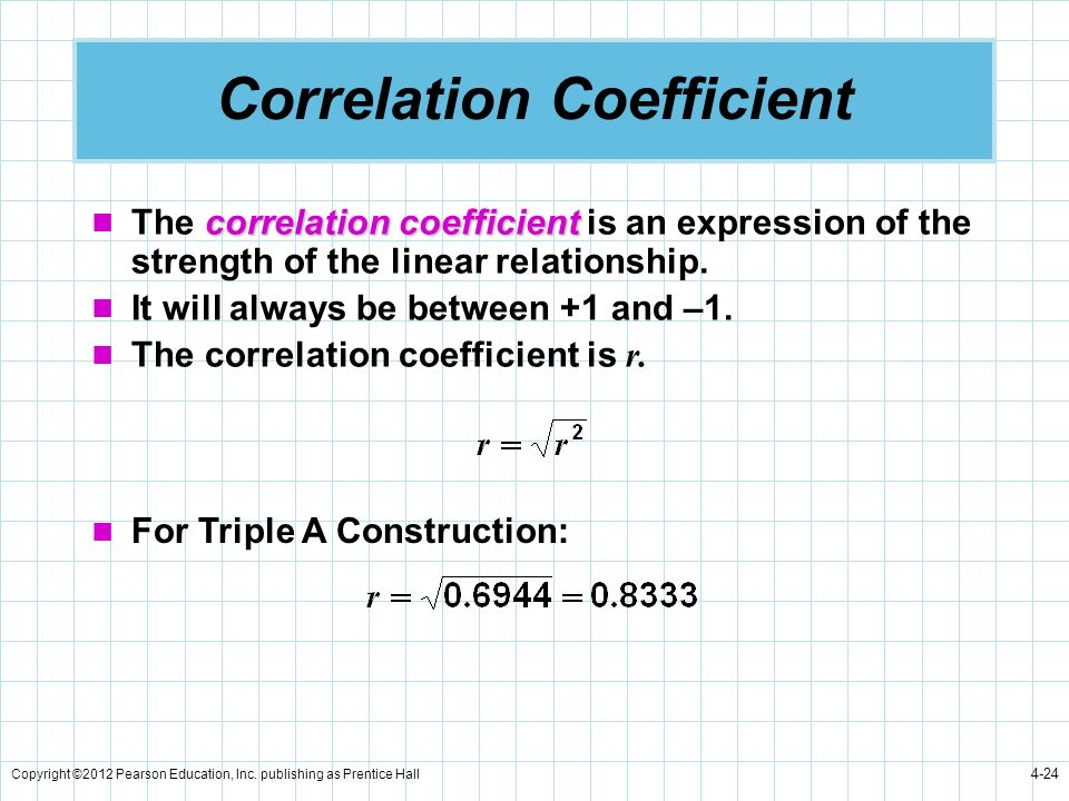Copyright ©2012 Pearson Education, Inc. publishing as Prentice Hall 4-24 Correlation Coefficient correlation coefficient The correlation coefficient i