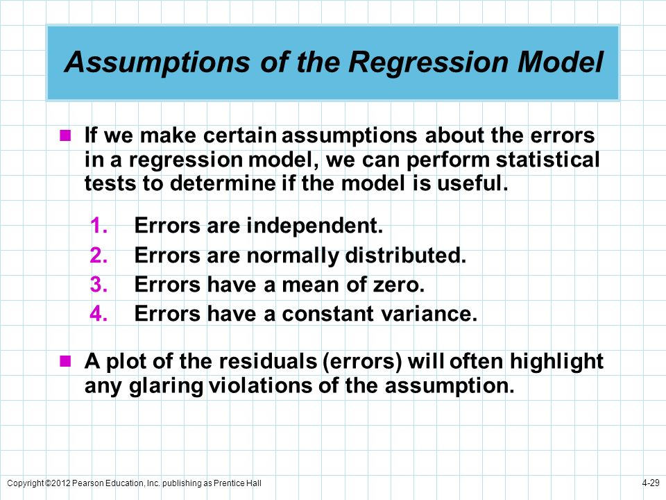 Copyright ©2012 Pearson Education, Inc. publishing as Prentice Hall 4-29 Assumptions of the Regression Model 1.Errors are independent. 2.Errors are no