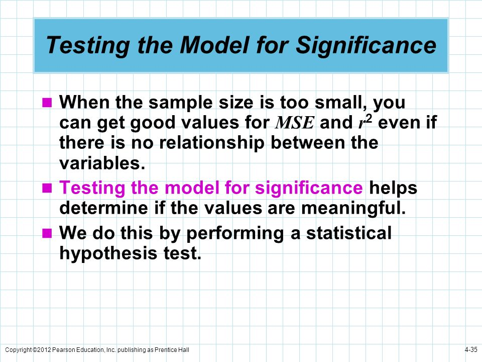 Copyright ©2012 Pearson Education, Inc. publishing as Prentice Hall 4-35 Testing the Model for Significance When the sample size is too small, you can