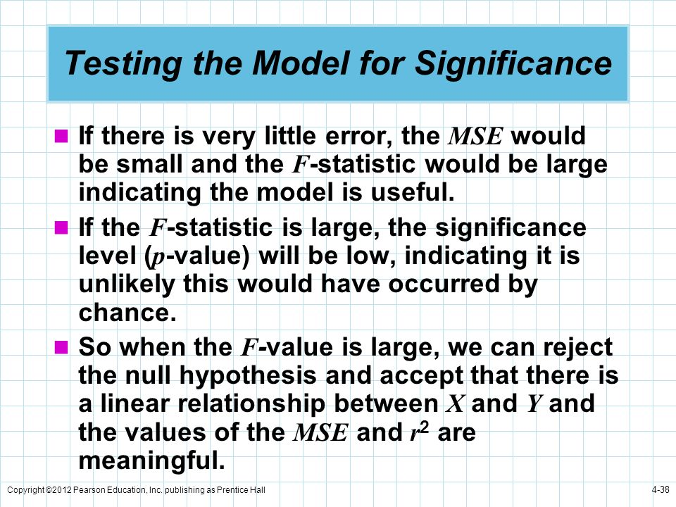 Copyright ©2012 Pearson Education, Inc. publishing as Prentice Hall 4-38 Testing the Model for Significance If there is very little error, the MSE wou