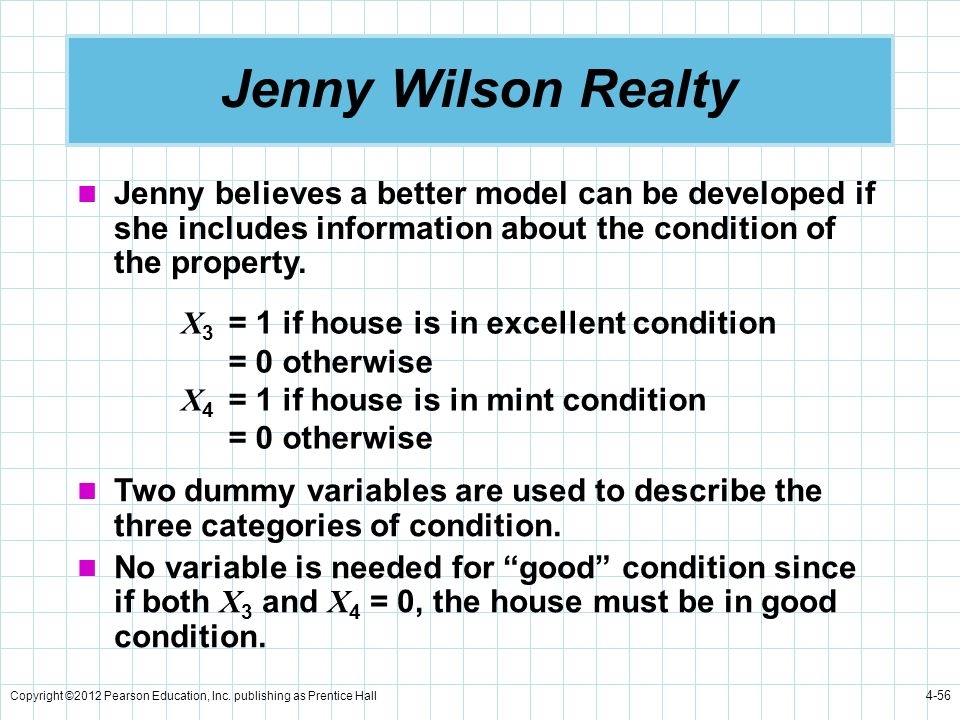 Copyright ©2012 Pearson Education, Inc. publishing as Prentice Hall 4-56 Jenny Wilson Realty Jenny believes a better model can be developed if she inc