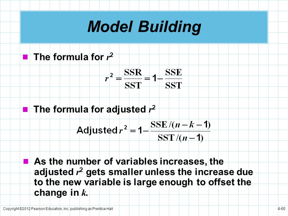 Copyright ©2012 Pearson Education, Inc. publishing as Prentice Hall 4-60 Model Building The formula for r 2 The formula for adjusted r 2 As the number