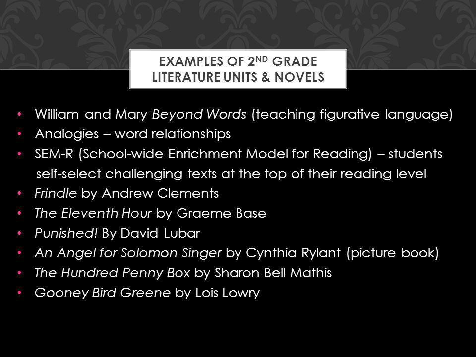William and Mary Beyond Words (teaching figurative language) Analogies – word relationships SEM-R (School-wide Enrichment Model for Reading) – students self-select challenging texts at the top of their reading level Frindle by Andrew Clements The Eleventh Hour by Graeme Base Punished.