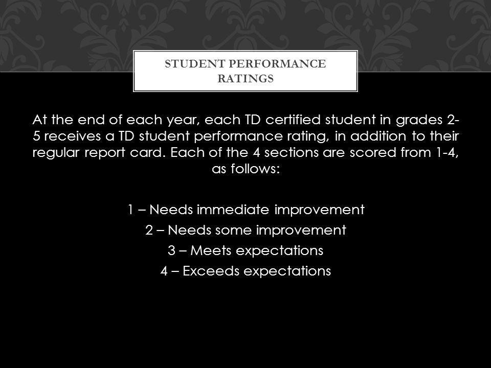 At the end of each year, each TD certified student in grades 2- 5 receives a TD student performance rating, in addition to their regular report card.
