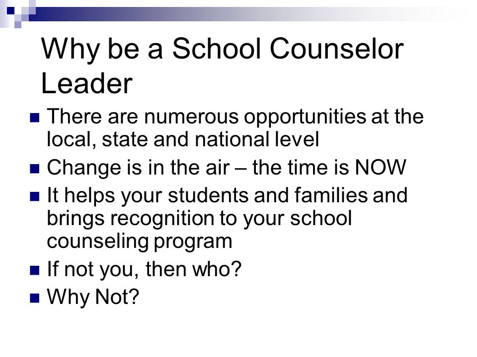 Why be a School Counselor Leader There are numerous opportunities at the local, state and national level Change is in the air – the time is NOW It helps your students and families and brings recognition to your school counseling program If not you, then who.