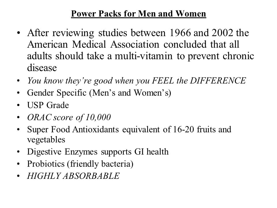 Power Packs for Men and Women After reviewing studies between 1966 and 2002 the American Medical Association concluded that all adults should take a m