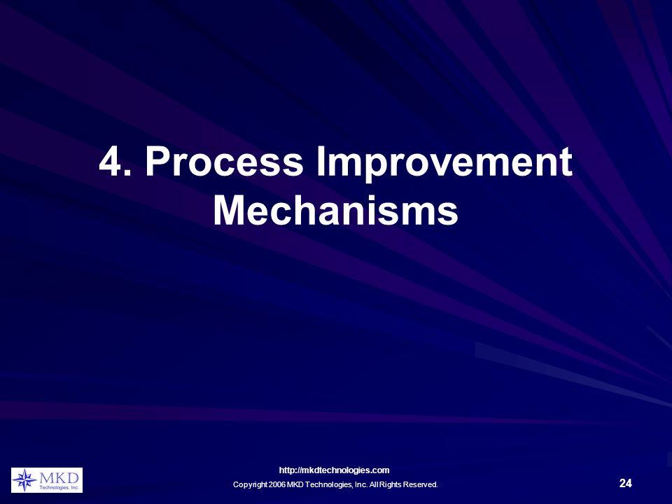 http://mkdtechnologies.com Copyright 2006 MKD Technologies, Inc. All Rights Reserved. 24 4. Process Improvement Mechanisms