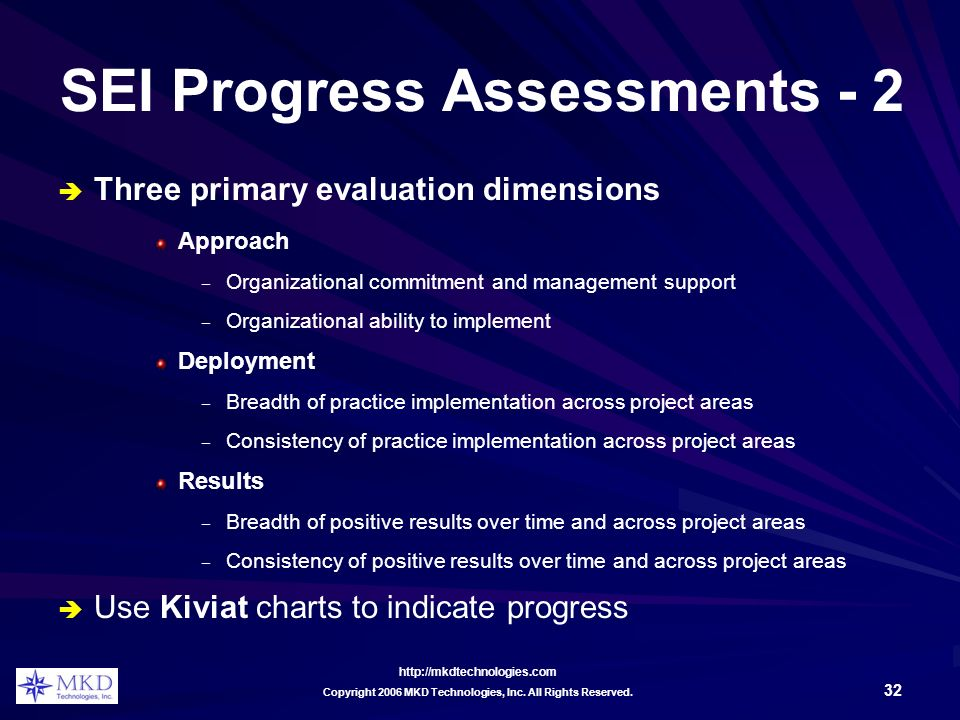 http://mkdtechnologies.com 32 Copyright 2006 MKD Technologies, Inc. All Rights Reserved. SEI Progress Assessments - 2 Three primary evaluation dimensi