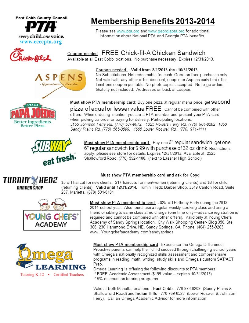 Coupon needed - FREE Chick-fil-A Chicken Sandwich Available at all East Cobb locations. No purchase necessary. Expires 12/31/2013. Membership Benefits