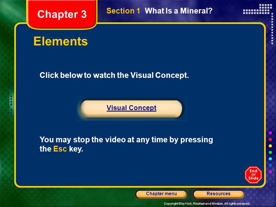 Copyright © by Holt, Rinehart and Winston. All rights reserved. ResourcesChapter menu Section 1 What Is a Mineral? Chapter 3 Elements Click below to w