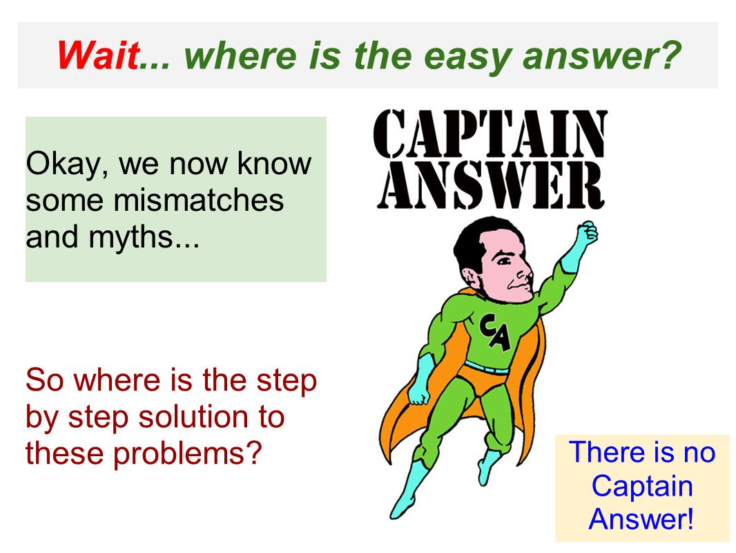 Wait... where is the easy answer. Okay, we now know some mismatches and myths...