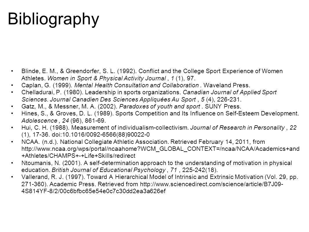 Bibliography Blinde, E. M., & Greendorfer, S. L.