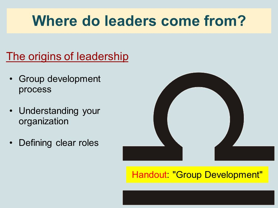 Where do leaders come from? The origins of leadership Group development process Understanding your organization Defining clear roles Handout: