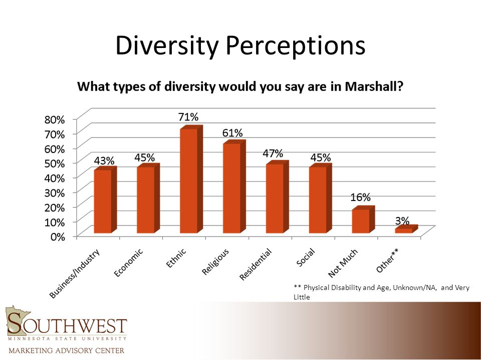 Diversity Perceptions ** Physical Disability and Age, Unknown/NA, and Very Little