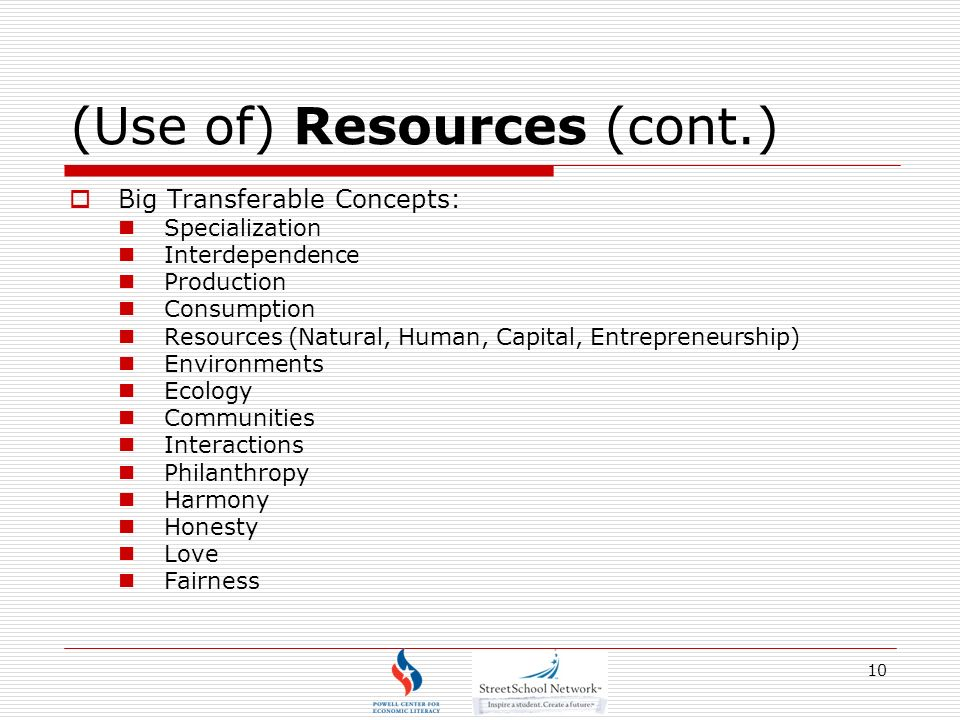 10 (Use of) Resources (cont.) Big Transferable Concepts: Specialization Interdependence Production Consumption Resources (Natural, Human, Capital, Entrepreneurship) Environments Ecology Communities Interactions Philanthropy Harmony Honesty Love Fairness