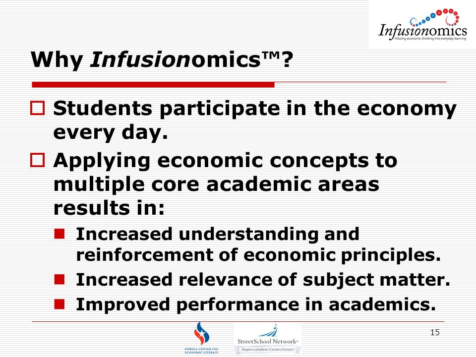 15 Why Infusionomics. Students participate in the economy every day.