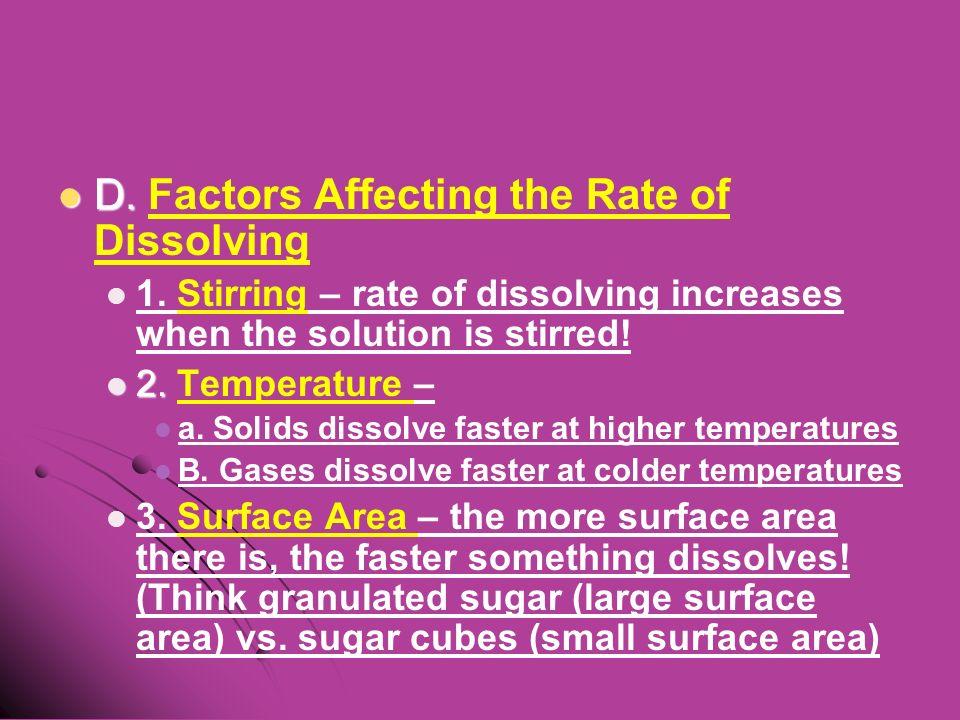 D. D. Factors Affecting the Rate of Dissolving 1.