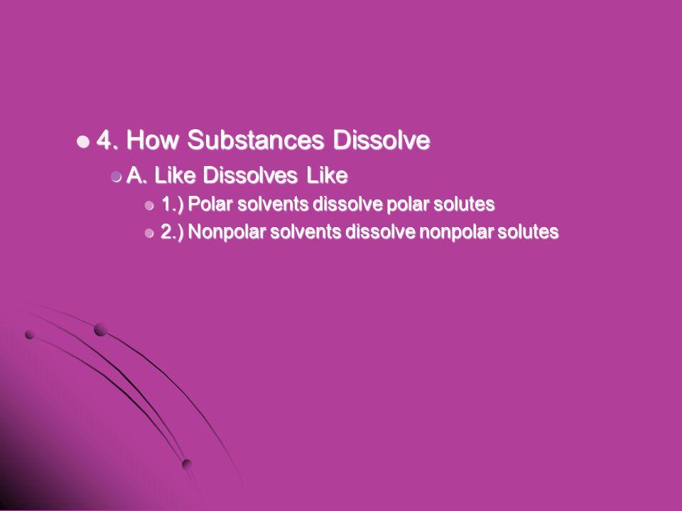 4. How Substances Dissolve 4. How Substances Dissolve A. Like Dissolves Like A. Like Dissolves Like 1.) Polar solvents dissolve polar solutes 1.) Pola