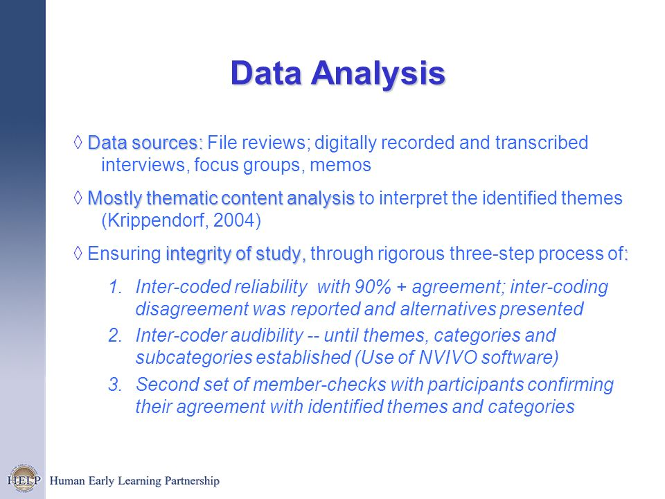Data Analysis Data sources: Data sources: File reviews; digitally recorded and transcribed interviews, focus groups, memos Mostly thematiccontent anal