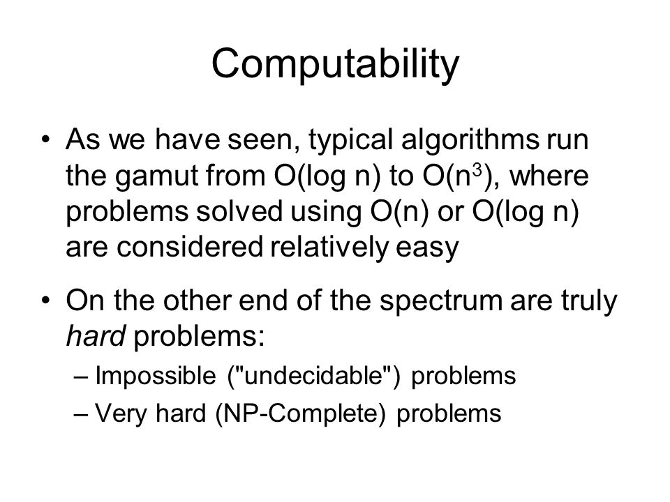Undecidable Problems [http://www.cgl.uwaterloo.ca/~csk/halt/] An algorithm is a solution to a problem if it correctly provides the appropriate answer to the problem and is guaranteed to always run in a finite amount of time.