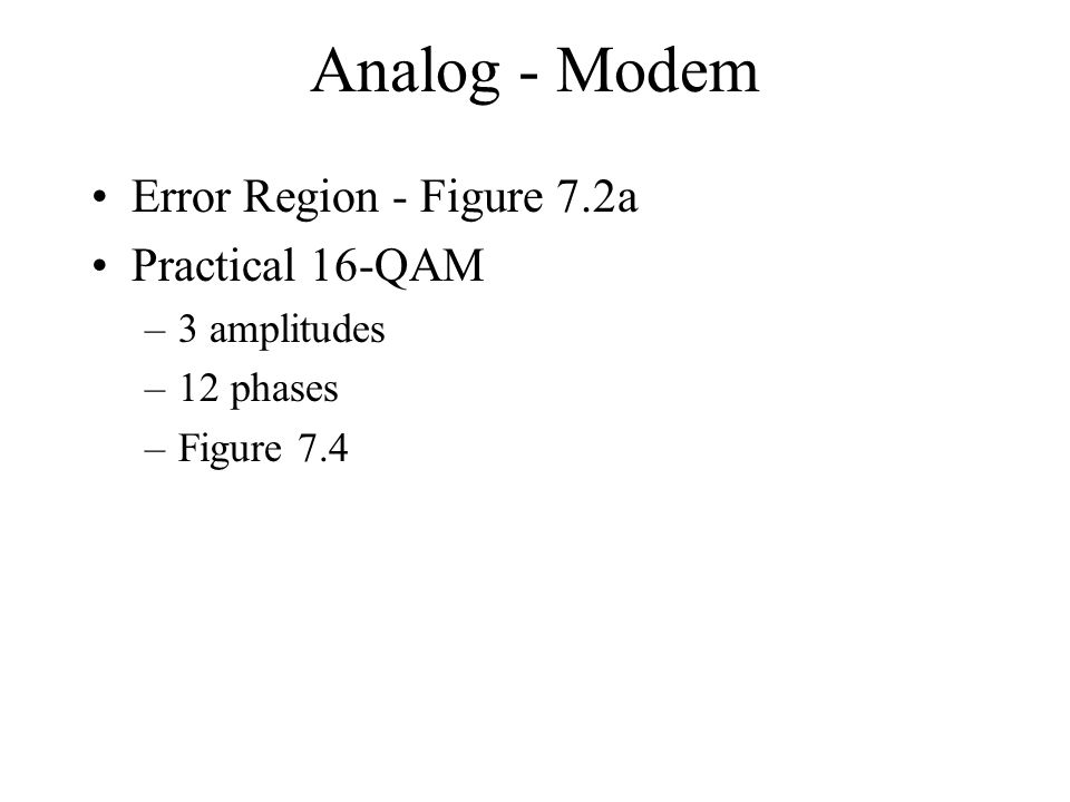 Analog - Modem Error Region - Figure 7.2a Practical 16-QAM –3 amplitudes –12 phases –Figure 7.4