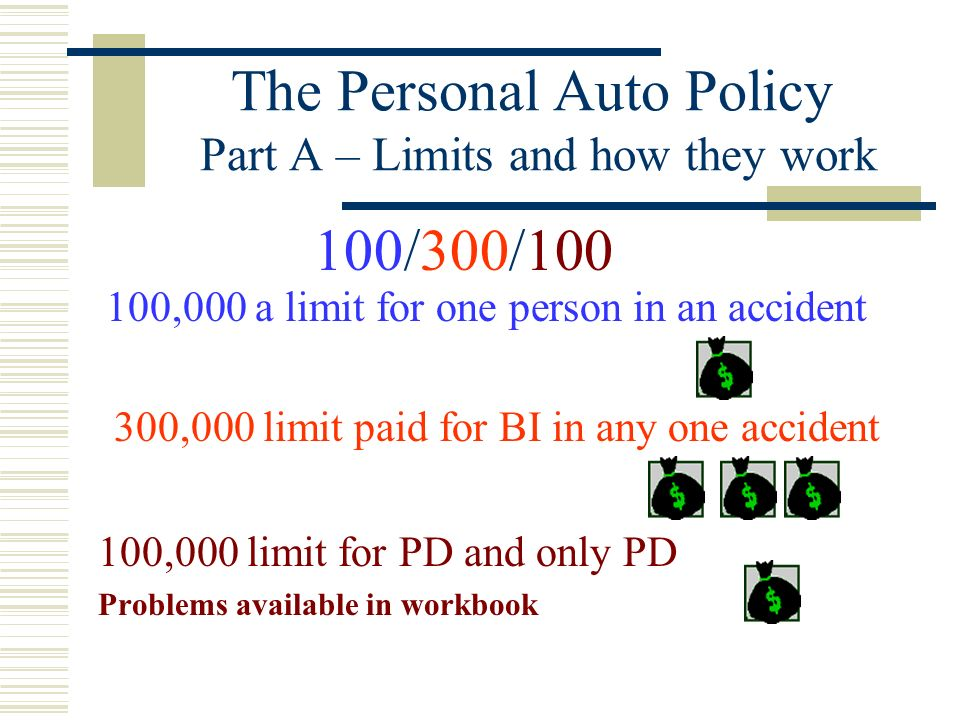 The Personal Auto Policy Part A – Limits and how they work Single Limits a/k/a Combines Single Limits CSL apply to all claims for BI and PD arising fr