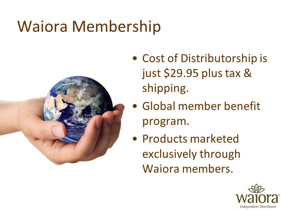 Waiora Membership Cost of Distributorship is just $29.95 plus tax & shipping.