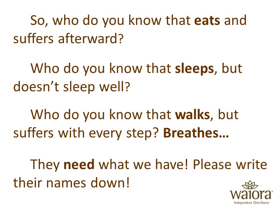 So, who do you know that eats and suffers afterward .