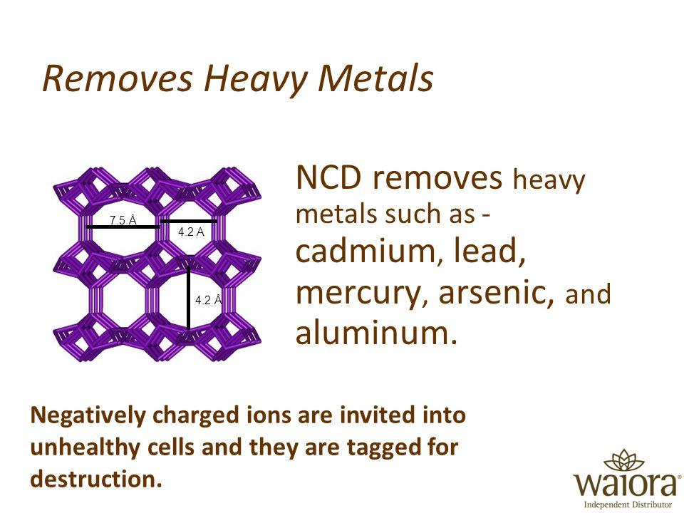 Removes Heavy Metals NCD removes heavy metals such as - cadmium, lead, mercury, arsenic, and aluminum.