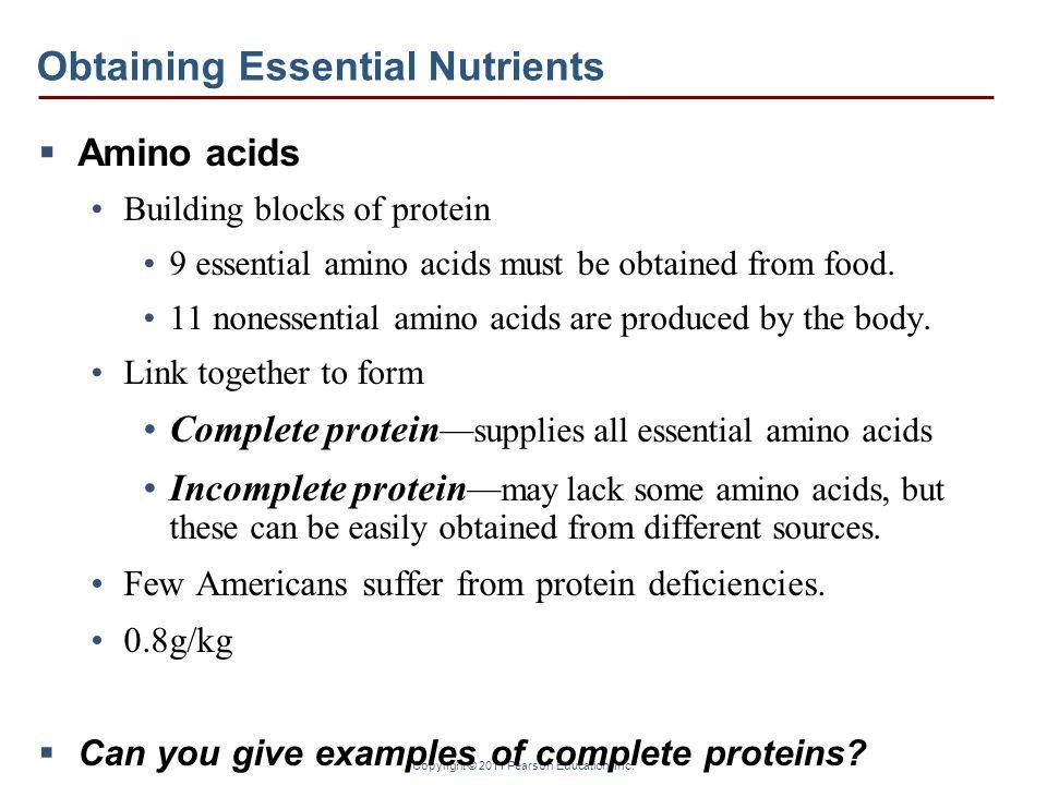 Copyright © 2011 Pearson Education, Inc. Obtaining Essential Nutrients Amino acids Building blocks of protein 9 essential amino acids must be obtained