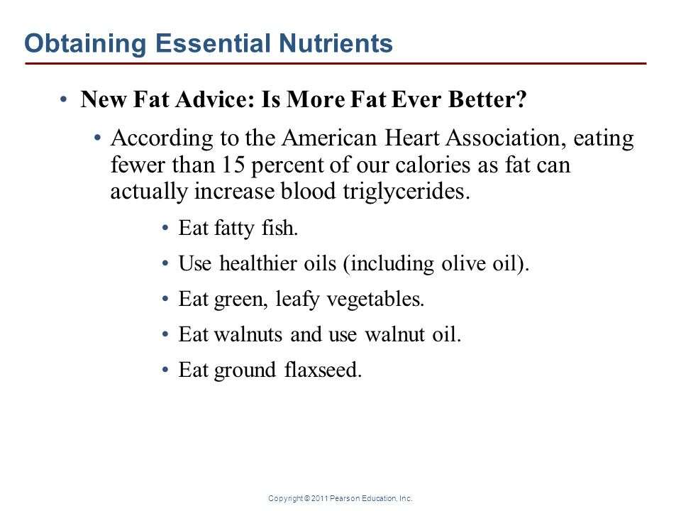 Copyright © 2011 Pearson Education, Inc. Obtaining Essential Nutrients New Fat Advice: Is More Fat Ever Better? According to the American Heart Associ
