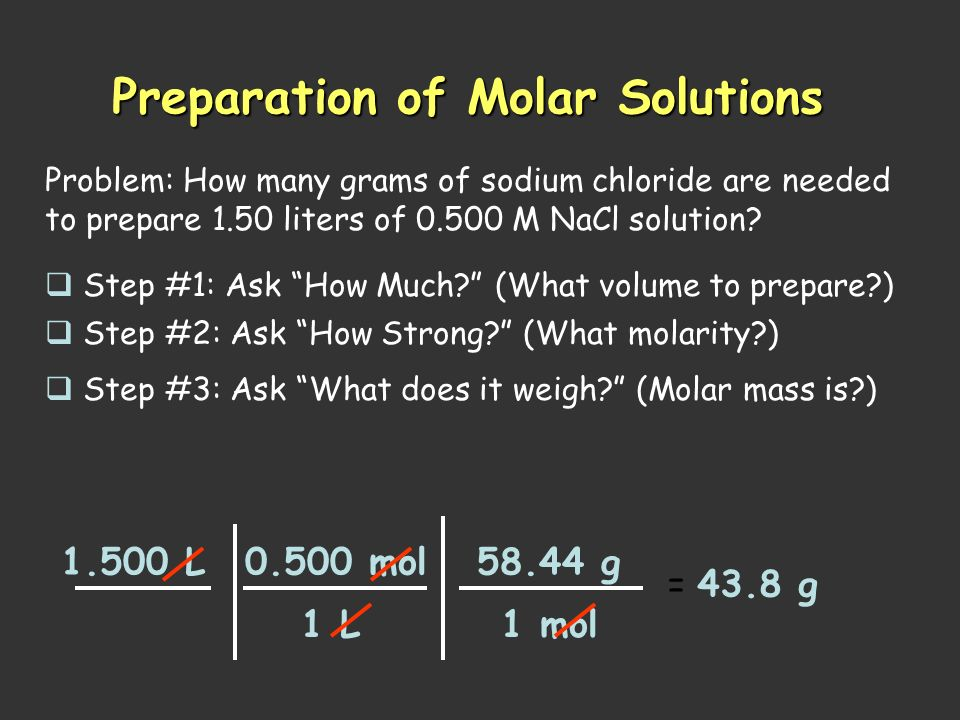 Molarity The concentration of a solution measured in moles of solute per liter of solution. mol = M L