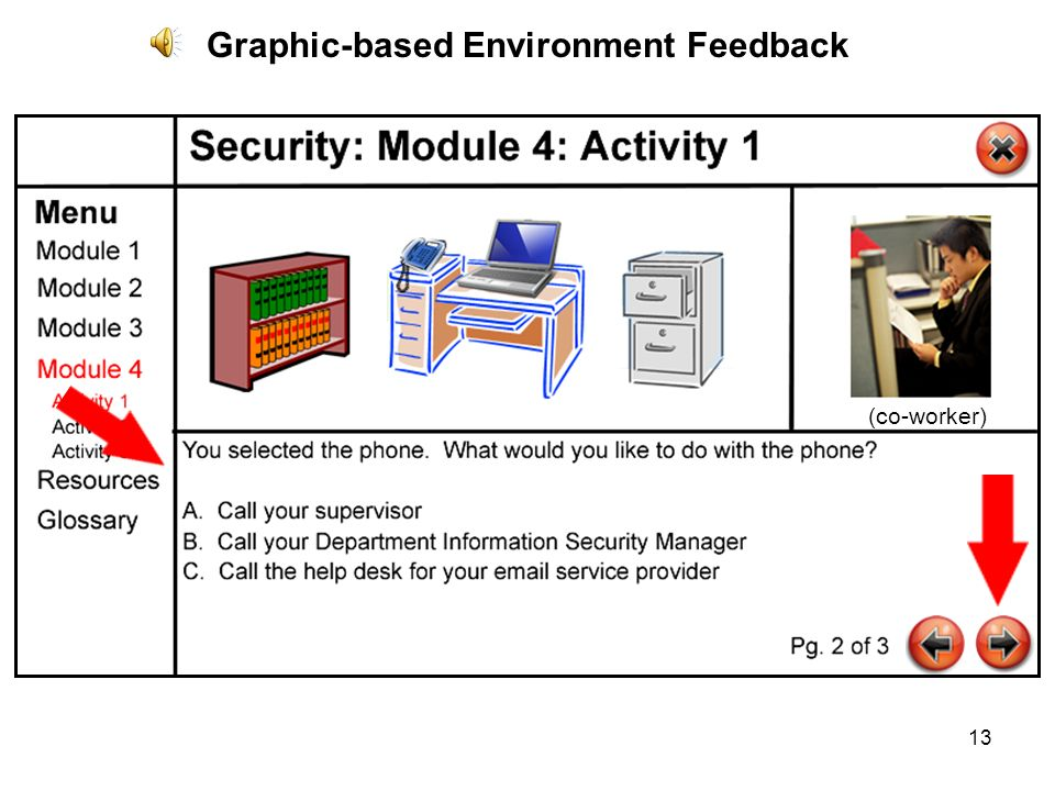 13 Graphic-based Environment Feedback (co-worker)