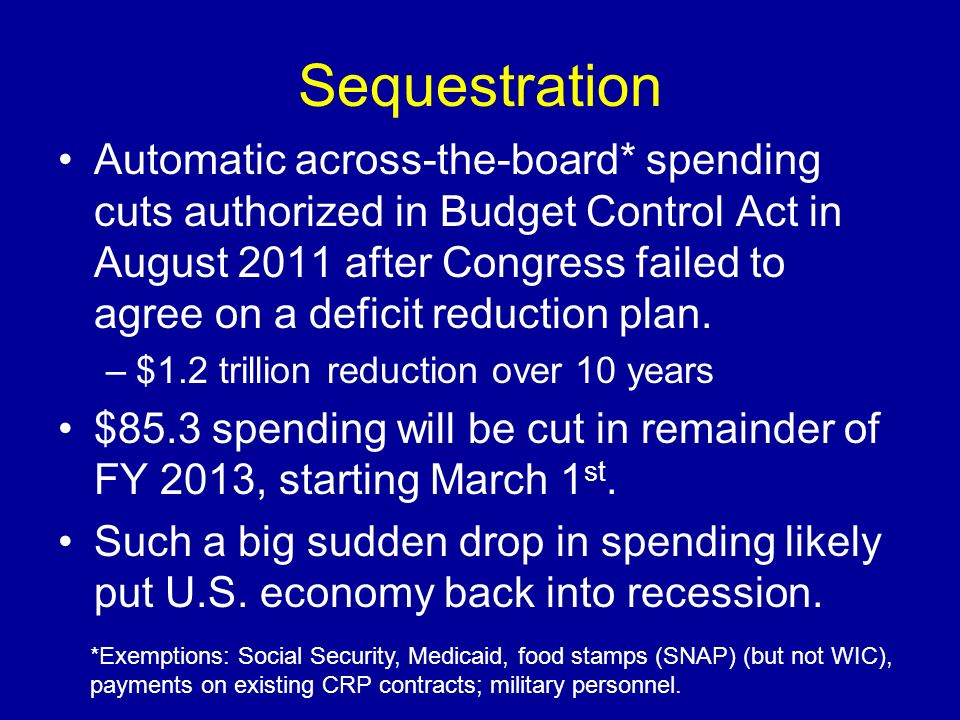 Sequestration Automatic across-the-board* spending cuts authorized in Budget Control Act in August 2011 after Congress failed to agree on a deficit re