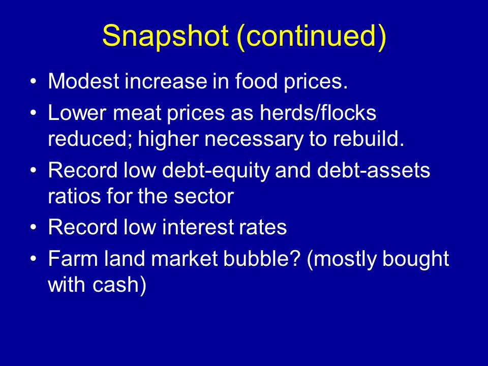Snapshot (continued) Modest increase in food prices. Lower meat prices as herds/flocks reduced; higher necessary to rebuild. Record low debt-equity an