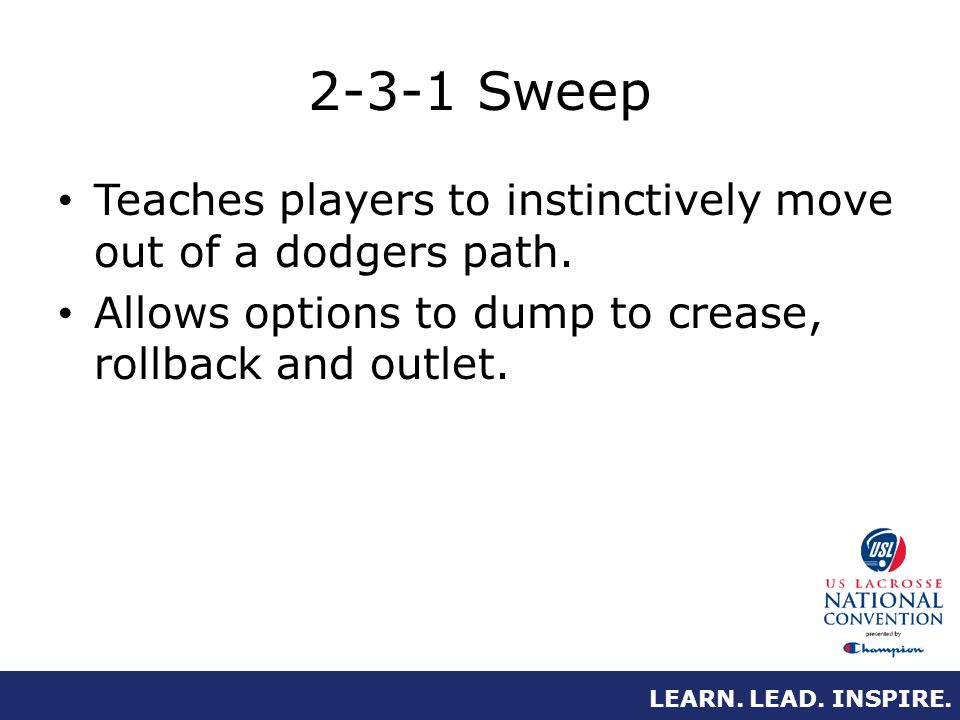 LEARN. LEAD. INSPIRE. 2-3-1 Sweep Teaches players to instinctively move out of a dodgers path.