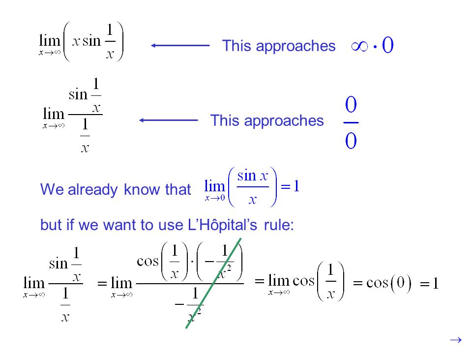 This approaches We already know that but if we want to use LHôpitals rule:
