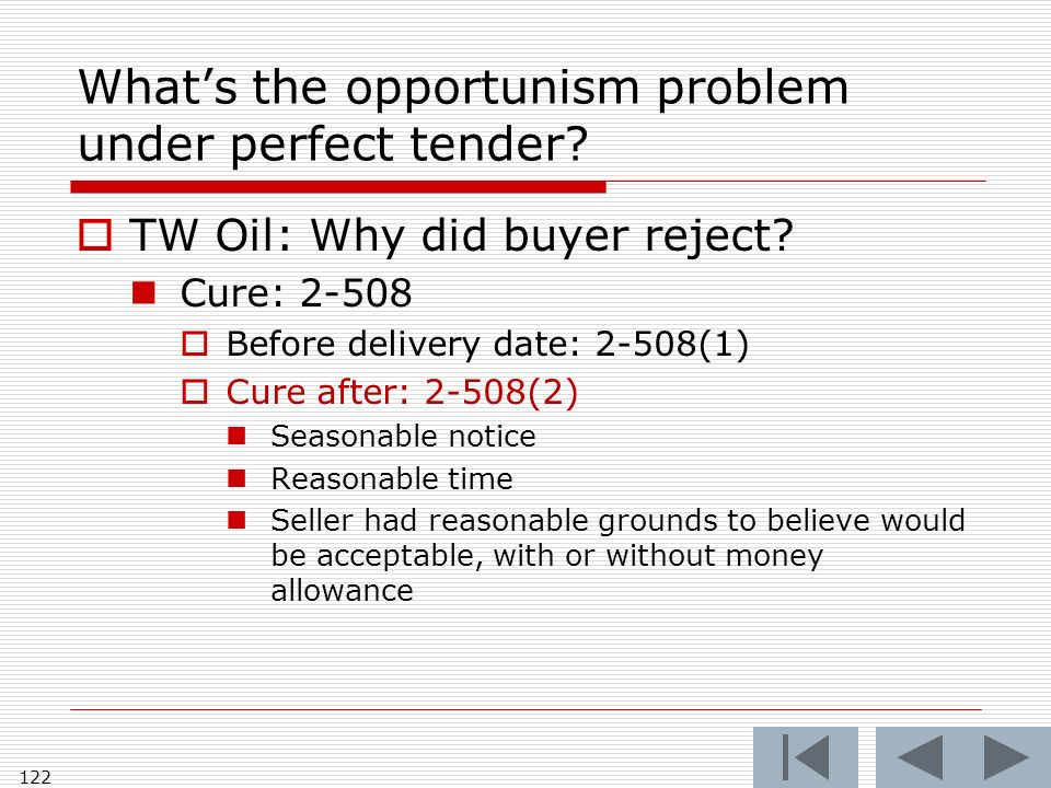 Whats the opportunism problem under perfect tender.