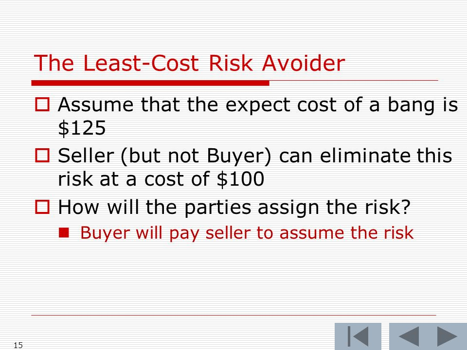 15 Assume that the expect cost of a bang is $125 Seller (but not Buyer) can eliminate this risk at a cost of $100 How will the parties assign the risk.