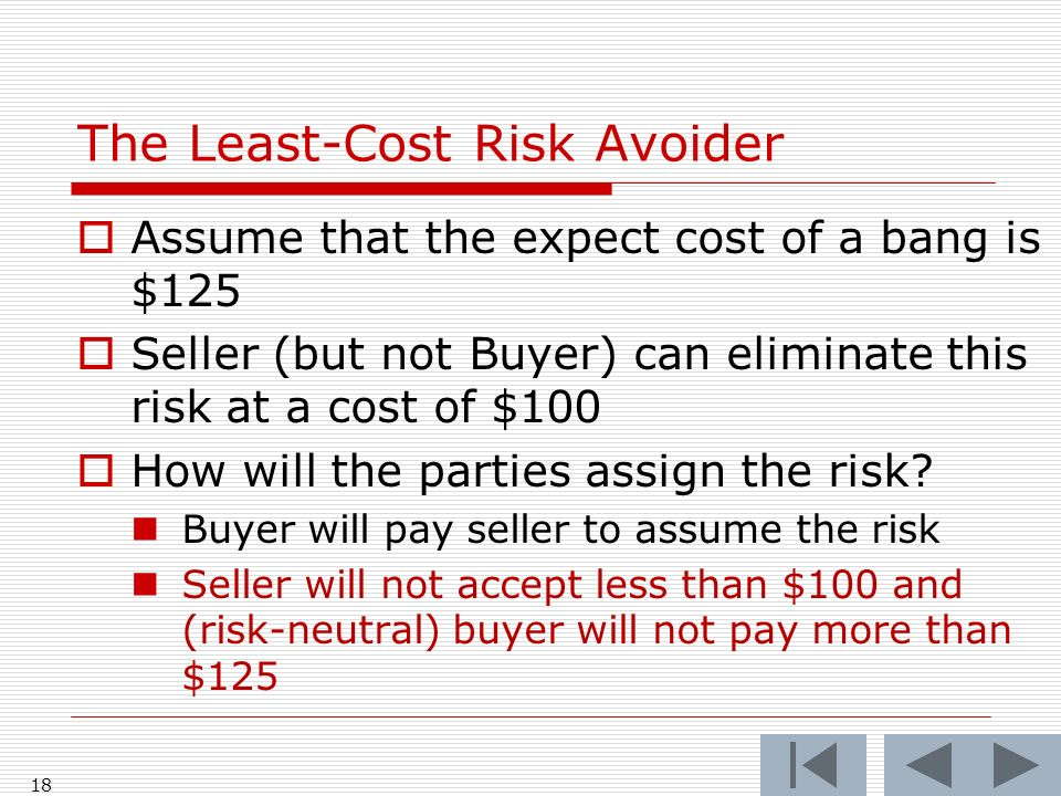 18 Assume that the expect cost of a bang is $125 Seller (but not Buyer) can eliminate this risk at a cost of $100 How will the parties assign the risk.