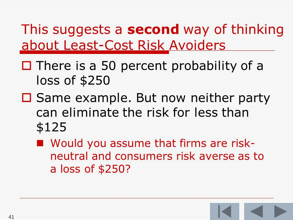 41 There is a 50 percent probability of a loss of $250 Same example.