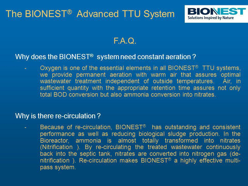 F.A.Q. Why does the BIONEST ® system need constant aeration .