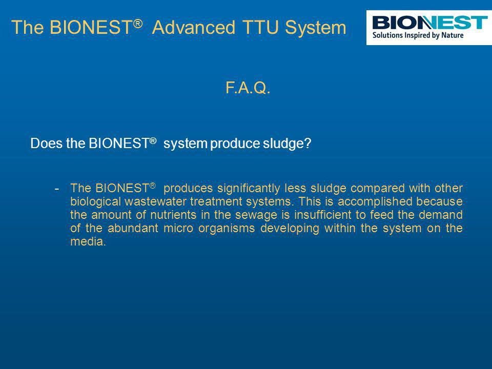 F.A.Q. Does the BIONEST ® system produce sludge.